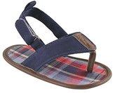 Luvable Friends Boys Plaid T Strap Sandal (Infant)