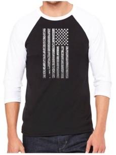 LA Pop Art National Anthem Flag Men's Raglan Word Art T-shirt