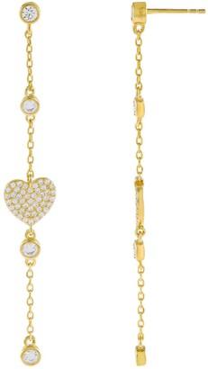 Adina's Jewels Cubic Zirconia Heart Drop Earrings