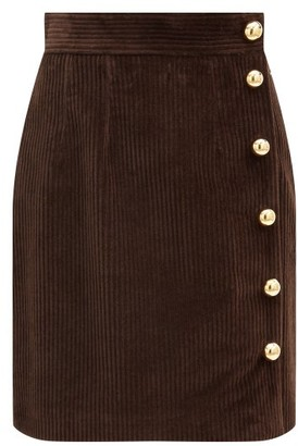 Dolce & Gabbana Side-buttoned Cotton-blend Corduroy Skirt - Brown