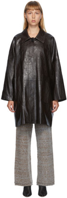 DRAE Brown Faux-Leather Boxy Coat