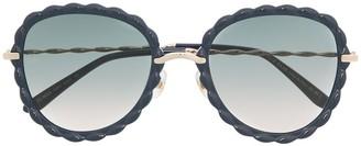 Elie Saab Blue Round-Frame Sunglasses