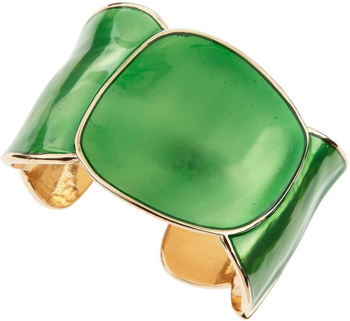 Kenneth Jay Lane Enamel Round Cuff, Green