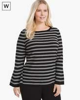 White House Black Market Plus Convertible Stripe Sweater