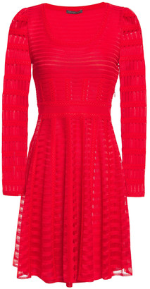 Alexander McQueen Embroidered Open-knit Mini Dress