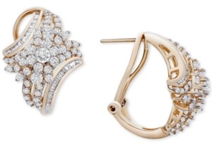 Wrapped in Love Diamond Cluster Curved Hoop Earrings (2 ct. t.w.) in 14k Gold, Created for Macy's