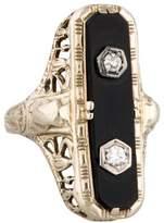 Ring Art Deco 14K Onyx & Diamond