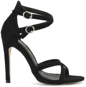 Truffle Collection Black Suede Cross Over Strappy Heels