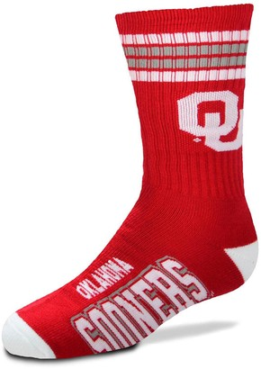 Youth For Bare Feet Oklahoma Sooners Four-Stripe Deuce Quarter-Length Socks