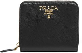Prada Logo Plaque Zip-Around Wallet