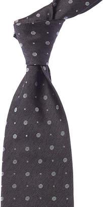 Isaia Dark Grey Geometric Silk Tie