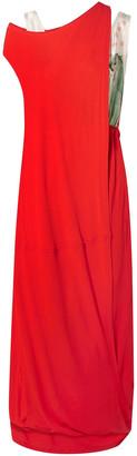 Marni Layered Jersey And Printed Satin Maxi Dress
