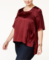 Melissa McCarthy Trendy Plus Size High-Low Satin Top
