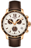 Tissot T095417360370 Quickster Chronograph Date Leather Strap Watch, Brown/white
