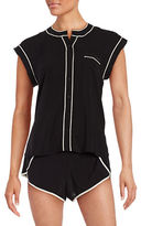 Calvin Klein Contrast-Trim Cap-Sleeve Top and Shorts Pajama Set