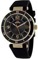 Seapro SP6412 Women's Seductive Black Silicone Watch with Crystal Accents
