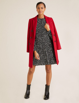 Marks and Spencer Printed Plisse Mini Swing Dress