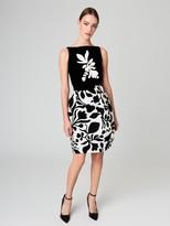 Oscar de la Renta Velvet-Flocked Silk-Gazar Cocktail Dress with Brooch