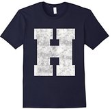 Men's Big Distressed Capital Letter H Alphabet Initials T-shirt Small