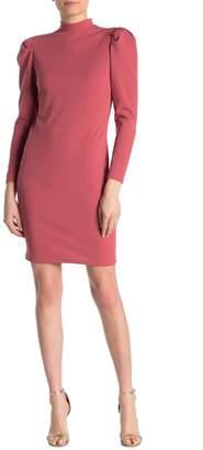 Blvd Puff Sleeve Mock Neck Bodycon Dress