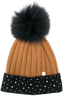 Miss Blumarine Logo Pom-Pom Beanie Hat