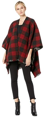 Pendleton Reversible Wool Wrap (Red/Charcoal Mix Buffalo Check Ombre) Women's Clothing