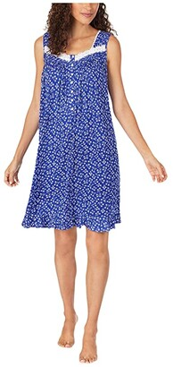 Eileen West Modal Spandex Knit Sleeveless Short Nightgown (Navy Ground White Daisy Floral) Women's Clothing