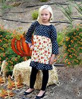 Beary Basics Blue & White Dot & Pumpkin Pattycake Dress - Toddler & Girls