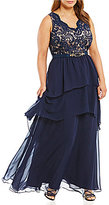 Eliza J Plus Lace-Bodice Tiered Gown