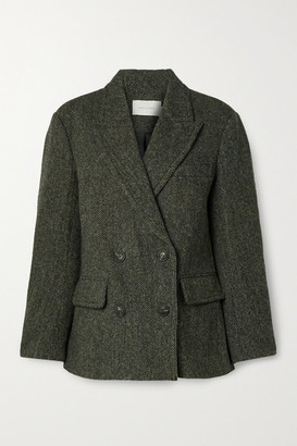 Low Classic Harris Double-breasted Wool-tweed Blazer - Black