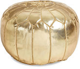 One Kings Lane Moroccan Leather Pouf, Gold