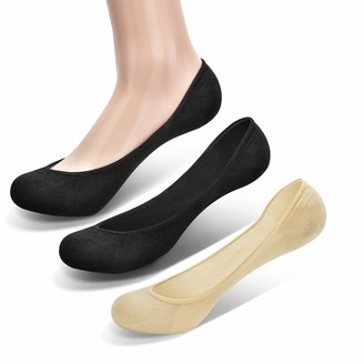[6Pairs] Ladies No Show Socks Ultra Low Cut Liner Socks By Closemate for Women Non-Slip with Silicone Strips (Black&Beige 5-7.5)
