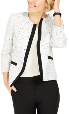 Kasper Contrast-Trim Tweed Jacket