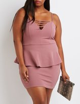 Charlotte Russe Plus Size Caged Peplum Bodycon Dress