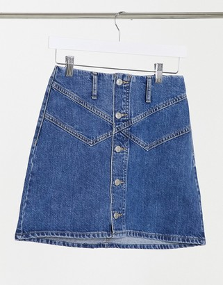 Topshop button front denim mini skirt in mid blue