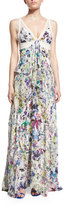 Roberto Cavalli Sleeveless Lace-Inset Tiered Gown, White/Multi
