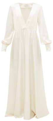 Isabella Collection La Collection V-neck Silk-satin Maxi Dress - Womens - Ivory