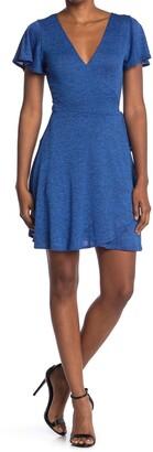 Vanity Room Short Sleeve Faux Wrap Knit Dress