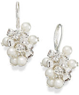 Charter Club Silver-Tone Glass Pearl Clear Crystal Cluster Drop Earrings