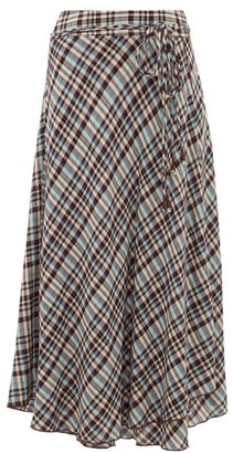 Apiece Apart Rosehip Checked Rayon Midi Skirt - Womens - Multi