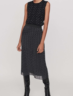 Maje Pleated,embroidered calf-length skirt
