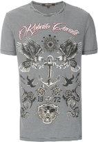 Roberto Cavalli striped eagle print T-shirt - men - Cotton - XS