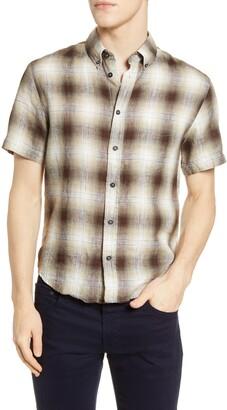 Billy Reid Kirby Slim Fit Check Short Sleeve Linen Button-Down Shirt