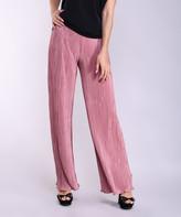 Lbisse Women's Casual Pants Mauve - Mauve Pleated Palazzo Pants - Women