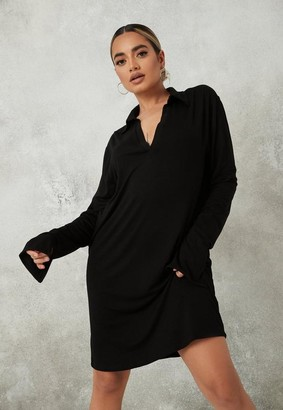 Missguided Black Polo Neck Long Sleeve Mini Dress