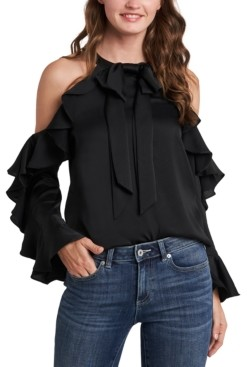 CeCe Cold-Shoulder Ruffled Bow Blouse