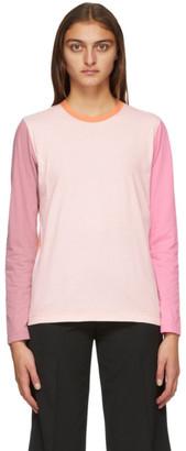 Comme des Garçons Shirt Pink and Orange Colorblock Logo Long Sleeve T-Shirt