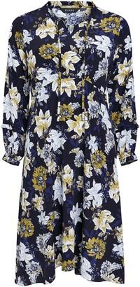 Evans Navy Blue Floral Print Tie Neck Dress