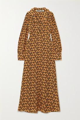 McQ Floral-print Silk Crepe De Chine Midi Dress - Black