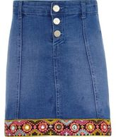 River Island Girls Blue embellished trim denim skirt